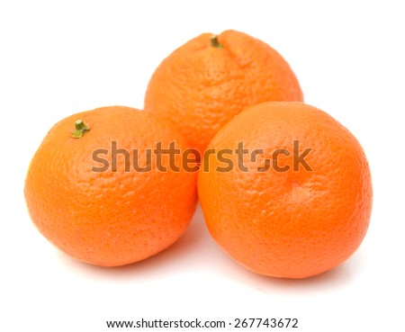 Ripe mandarin citrus isolated tangerine mandarine orange on white background.  - stock photo