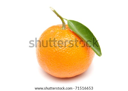 Ripe mandarin with green leaf isolated on white background - stock photo