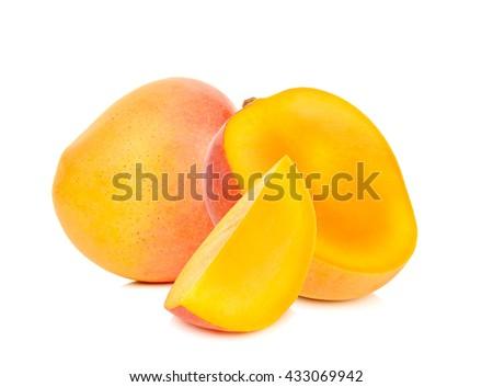 Ripe mango isolated on the white background. - stock photo
