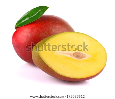 Ripe mango isolated on white background