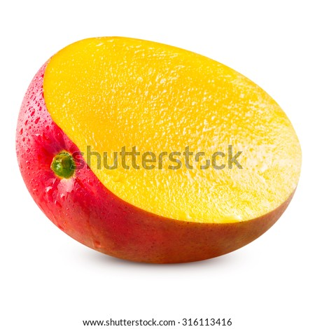 Ripe mango isolated on white Clipping Path - stock photo