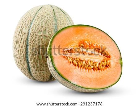 Ripe Melon Cantaloupe slice, isolated on white background. - stock photo