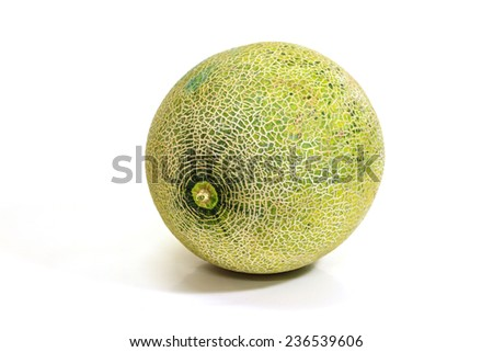 Ripe melon isolated on white background close up - stock photo