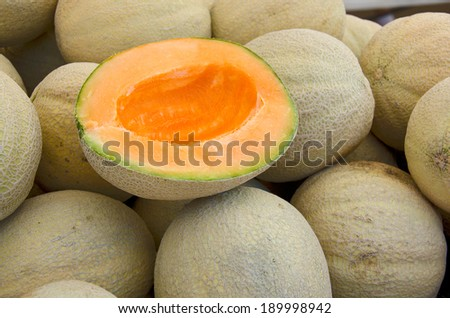 ripe muskmelon on a pile of whole melon at the farmer's market - stock photo