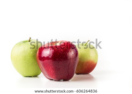 Ripe natural apples on a white background.
