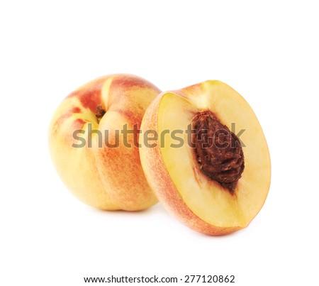 Ripe nectarine fruit composition, isolated over the white background - stock photo
