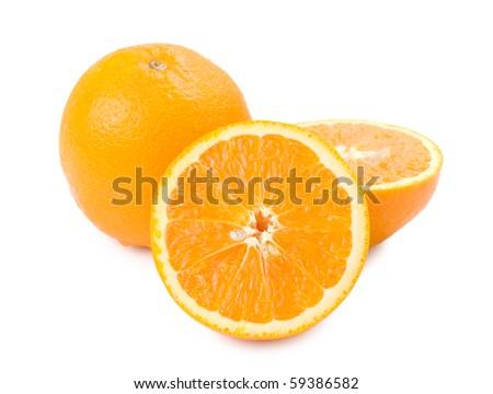 Ripe orange fruit and slice isolated on white background - stock photo