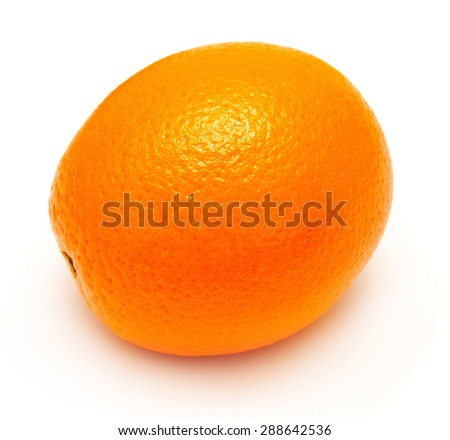 Ripe orange isolated on white background - stock photo