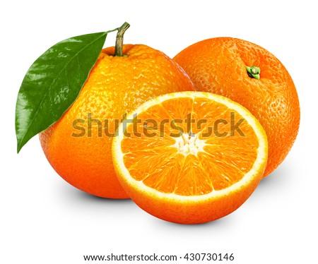 Ripe orange isolated on white background. Clipping Path - stock photo