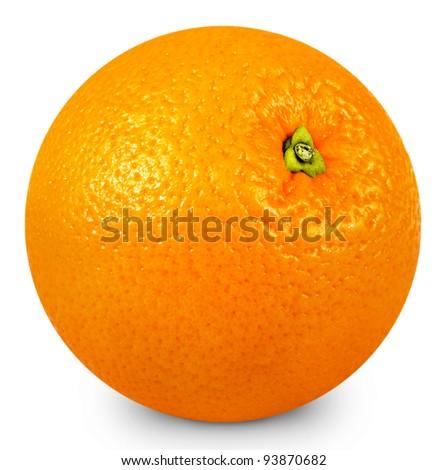 Ripe orange isolated on white background + Clipping Path - stock photo