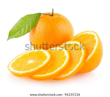 ripe oranges - stock photo