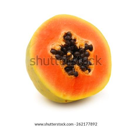 Ripe papaya isolated on white background - stock photo