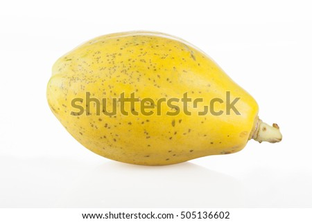Ripe papaya isolated on white background