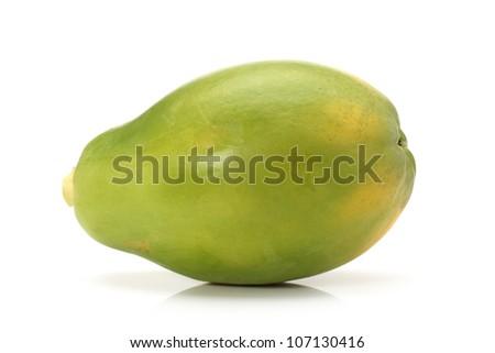 Ripe papaya on white background. - stock photo