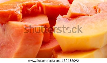 Ripe papaya peel it and eat - stock photo