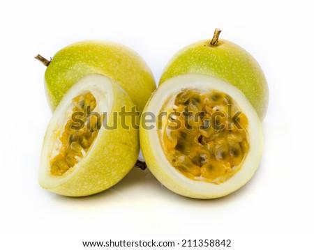 Ripe passion fruit  isolated on white background. - stock photo
