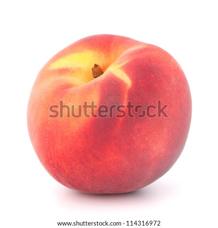 Ripe peach  fruit isolated on white background cutout - stock photo
