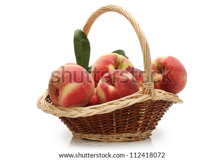 ripe peach on white background - stock photo
