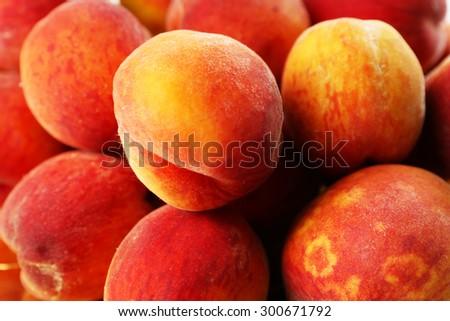 Ripe peaches background - stock photo