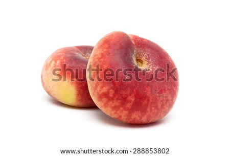 ripe peaches close-up on a white background. Horizontal photo. - stock photo