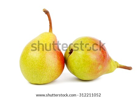 Ripe pear isolated on white - stock photo
