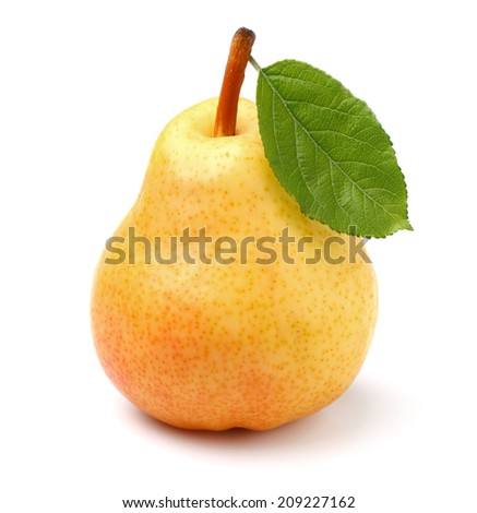 Ripe pear with leaf - stock photo
