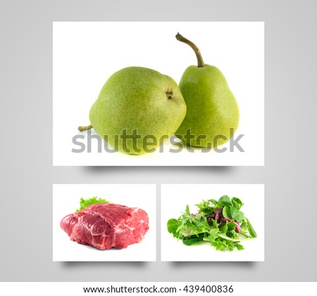 Ripe pears. Healthy diet fruit. Fresh organic food. Green mix salad. Raw pork neck meat. Fresh pears on white background. - stock photo