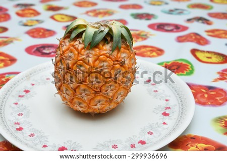 Ripe pineapple fruit isolated. Fresh cut pineapple slices Kerala India. seamless sketch of tropical flower with pineapple pattern background - stock photo