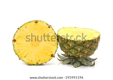 ripe pineapple on the white background