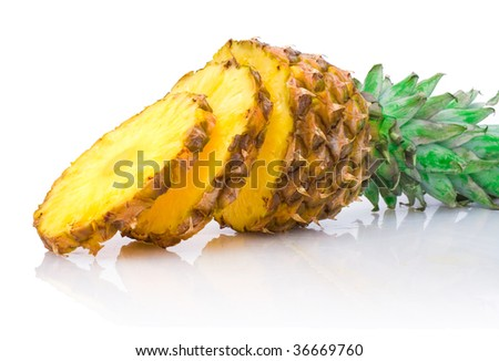 ripe pineapple with slices