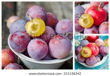 Ripe plums and apples - stock photo