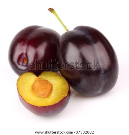 Ripe plums in closeup - stock photo