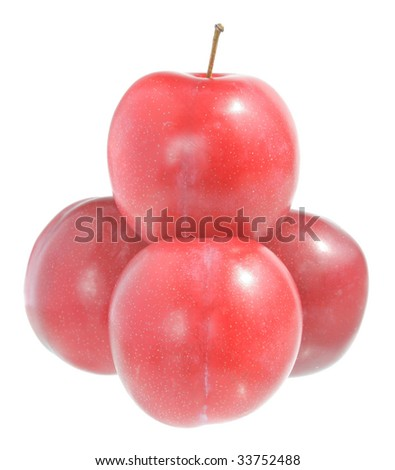 Ripe plums on a white background.