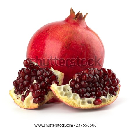 Ripe pomegranate fruit isolated on white background cutout - stock photo