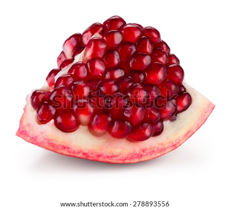 Ripe pomegranate fruit segment isolated on white. With clipping path. - stock photo