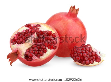 Ripe pomegranate fruit with half isolated on white background - stock photo