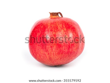 Ripe pomegranate fruit with half isolated on white background