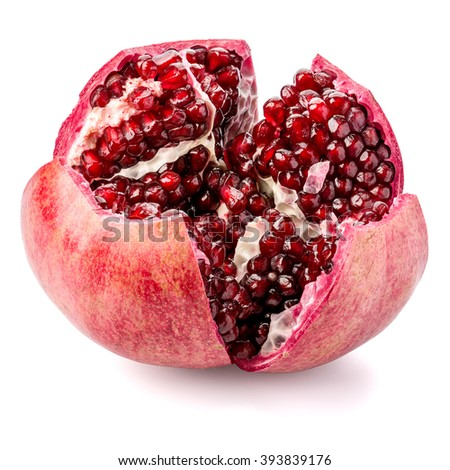 Ripe pomegranate fruit with seeds isolated on white background. File contains clipping paths. Deep depth of field, picture is in focus from front to back.