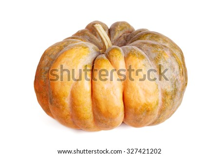 Ripe pumpkin isolated on white - stock photo