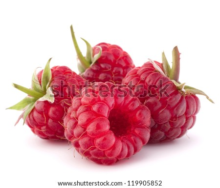 Ripe raspberries isolated on white background cutout - stock photo