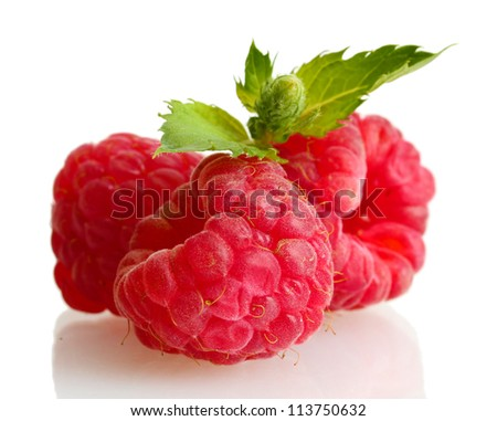 ripe raspberries with mint  isolated on white - stock photo