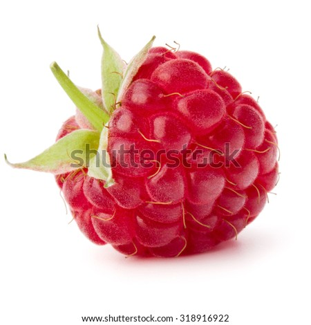 ripe raspberry isolated on white background close up - stock photo
