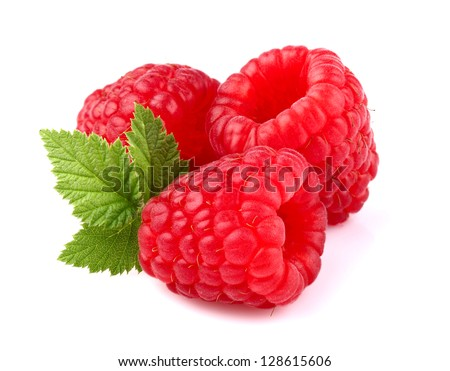 Ripe raspberry with leaf - stock photo
