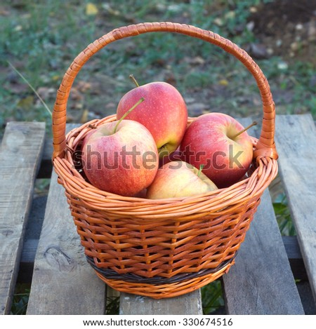 Ripe red and yellow apples inside brown wicker basket on old wooden table outdoor. Vertical view closeup