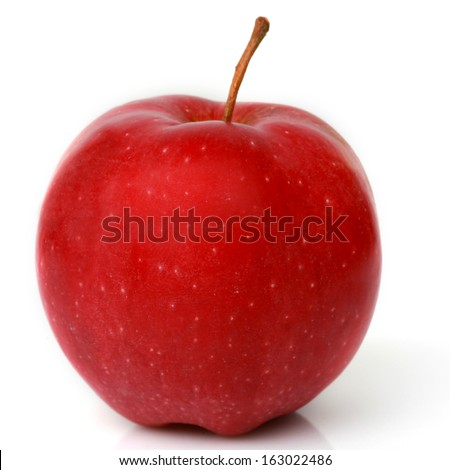 Ripe red apple . Isolated on a white background  - stock photo