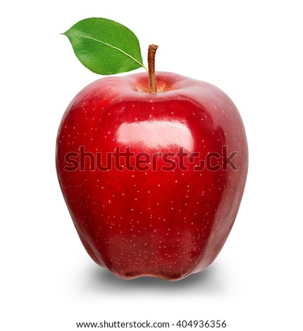 Ripe red apple isolated on a white background. - stock photo