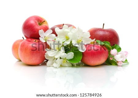 Ripe red apples and apple flowers isolated on a white background close-up - stock photo