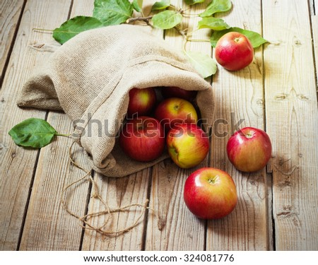 Ripe red apples in a bag on old wooden background - stock photo