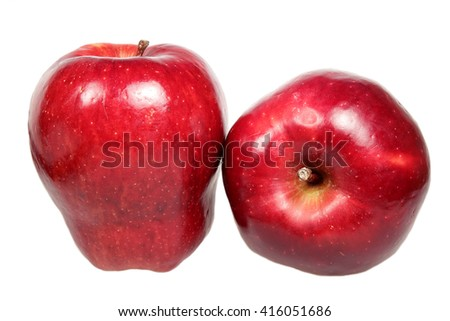 Ripe red apples is isolated on a white background