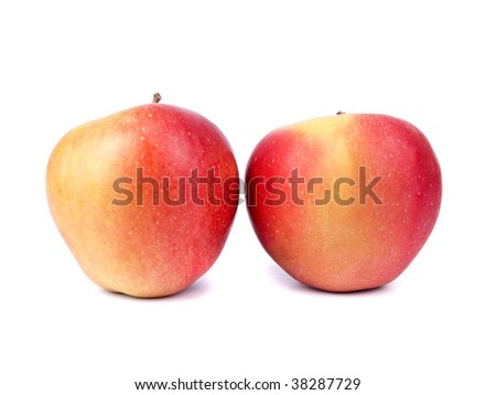 Ripe red apples isolated on white background